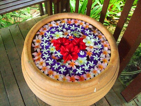 Pangkor Laut Resort: Flower pot decoration around whole resort