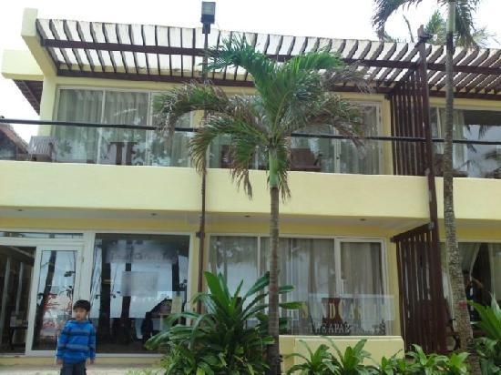 Boracay SandCastles The Apartments: My Son in front of The Apartments