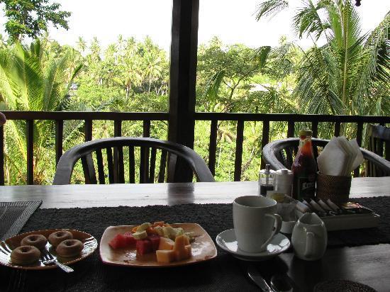 Villa Sarna Ubud: 朝食はテラスで。フルーツ、パンケーキ、オムレツがでました。