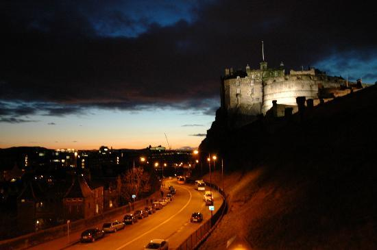 Apartment By Castle: Edinburgh Castle and Johnston Terrace at night from Apt 16/4