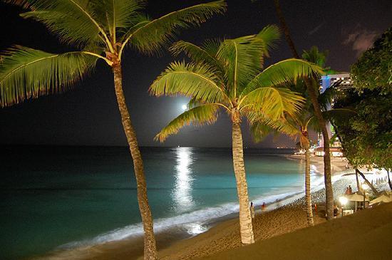 Moana Surfrider, A Westin Resort & Spa: 窓から・・・月明かりに照らされて