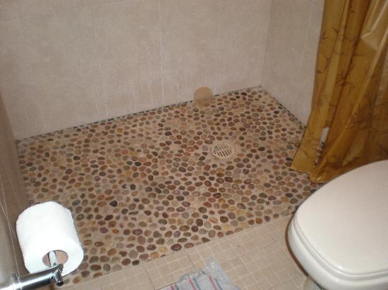 Arena Suites: The beautiful hand inlaid shower floor in room 9.