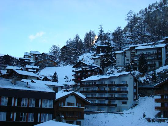 Hotel Alphubel Zermatt: View from my balcony at about 6 a.m.