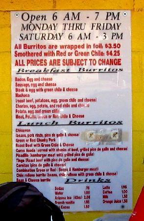 Don Juan's Burritos : menu