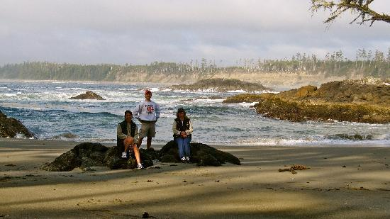 Florencia Bay Hideaway: This was a great shot of us with the crashing waves of Florencia Bay behind us
