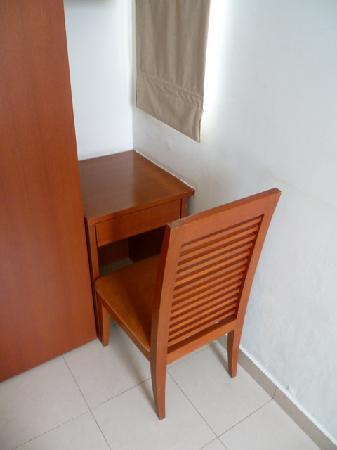 Aston Rasuna: A desk that is too small to use (and no power) in the double bedroom