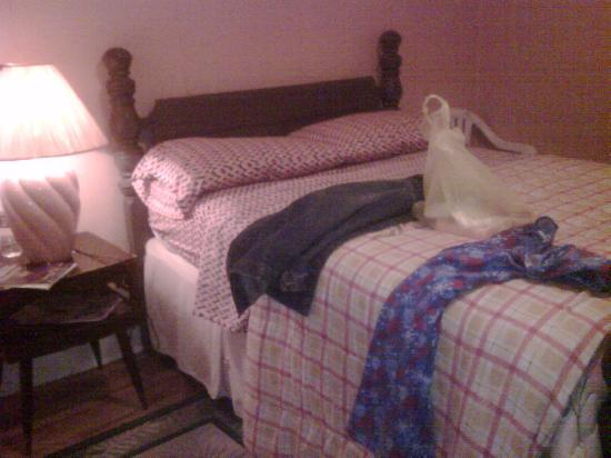 Riverside Hotel: The Muddy Waters bedroom with my plastic bag full of blues.