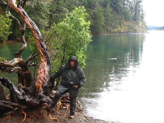 Bungalows Arauco Hue: yo en el rio de circuito chico que une dos lagos