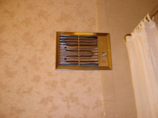 Evergreen Lodge: heater in the bathroom wall - looked like a fire hazard to me