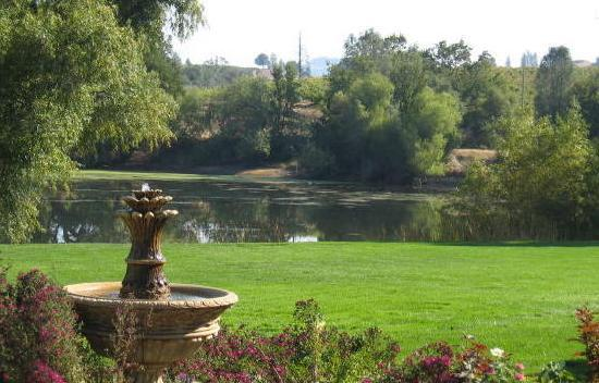 Deaver Vineyards Winery : Looking across Deaver Green and the lake at Amador Harvest Inn