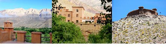 La Kasbah du M'Goun - Ait Bouguemez : Vue de la casbah du M'goun sur des champs de la vallée entretenus commes des jardins