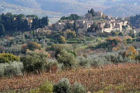 Villa Bordoni: view down the hill of Montefioralle, a medieval castle village
