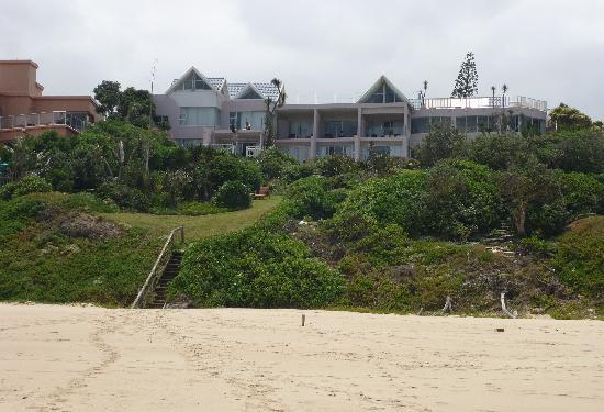 The Pink Lodge on the Beach: view from beach to hotel