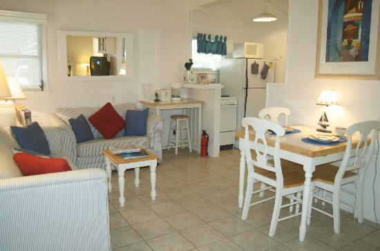 Cottages by the Ocean: Comfortable living, dining and kitchen areas of studio cottage