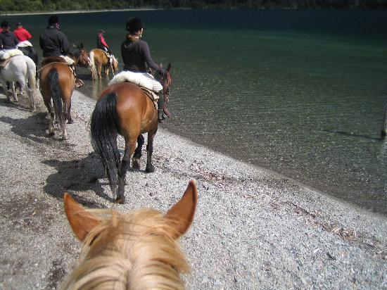 Estancia Peuma Hue: Getting ready to gallop on the beach and in the lake - so fun!