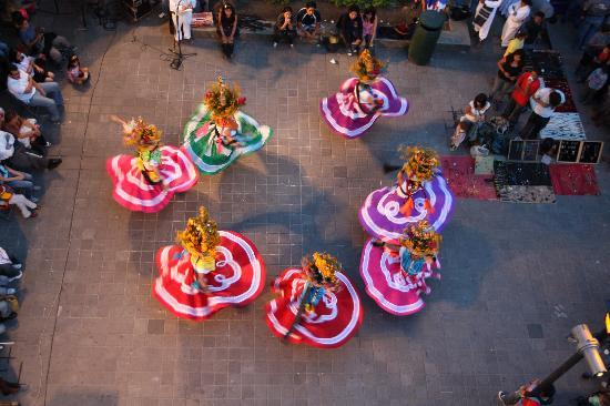 Hotel Marques del Valle: View of nightly dance performance under our window