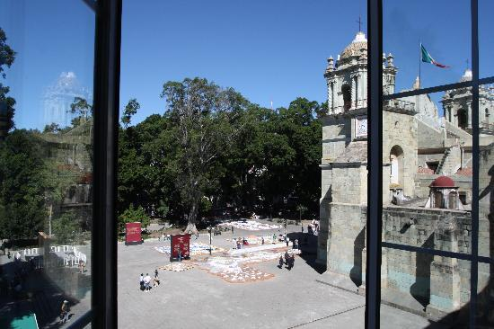 Hotel Marques del Valle: View of the zocalo from our room- the sand paintings are being made for Day of the Dead