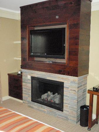 Hotel Abrego: Loved the Fireplace & TV