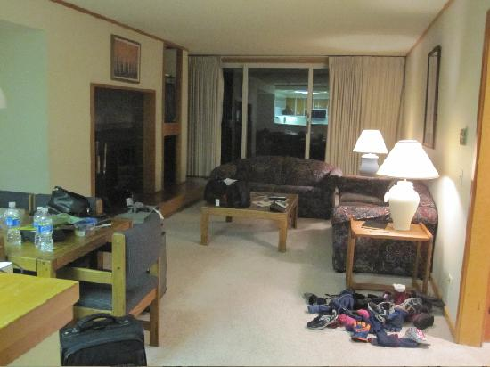 Evergreen Condominiums: Living area w/ full size pull out couch, fireplace, dining table for six