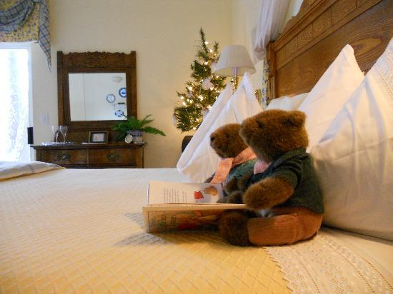 All Seasons River Inn: These cute bears in our room loved to read. We loved all the small details.