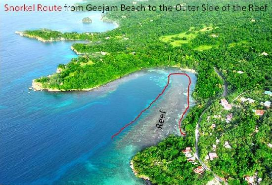 Snorkel route from Geejam beach