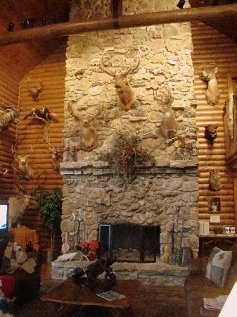 Village At Indian Point: Large fireplace in main lodge.
