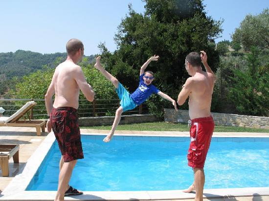 Throwing Child In Pool Picture Of Skiathos Zaki Villas Skiathos Town Tripadvisor
