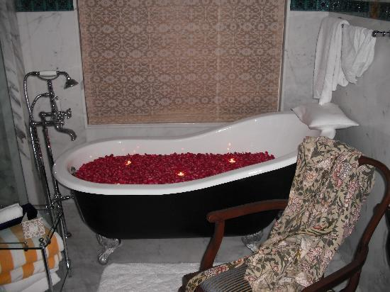 The Oberoi Udaivilas: Bath filled with rose petals and candles while we were out