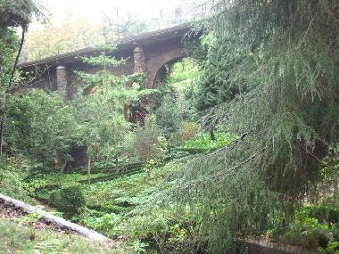 View of the gardens against the viaduct
