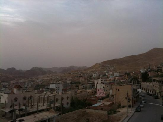 Cleopetra Hotel: looking toward Petra from the roof terrace