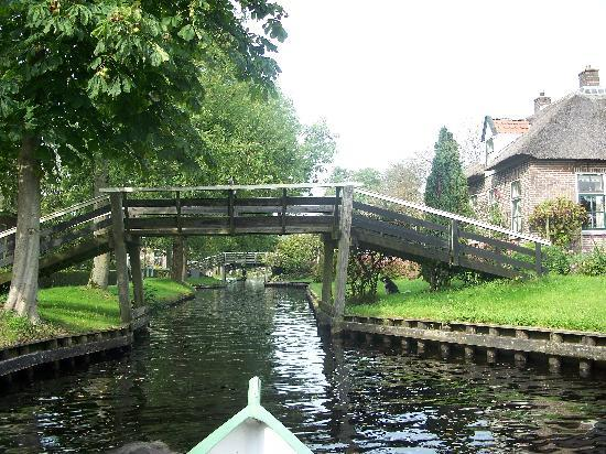 View of several foot bridges in Giethoorn