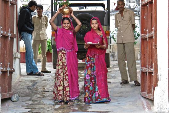 Castle Bera, Bera, Rajasthan: These young girls are a part of the reception team