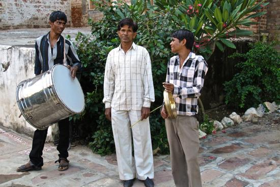 Castle Bera, Bera, Rajasthan: These musicians play music to mark guests' arrival
