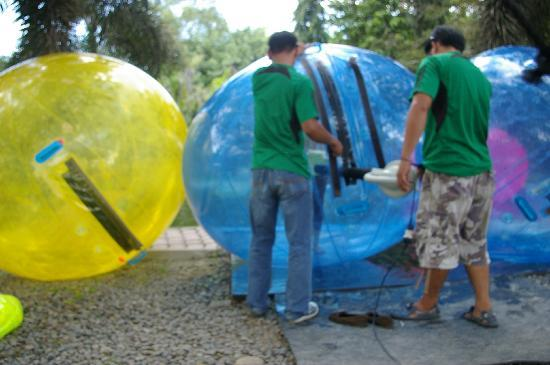 Davao Zorb Park : The ball is inflated