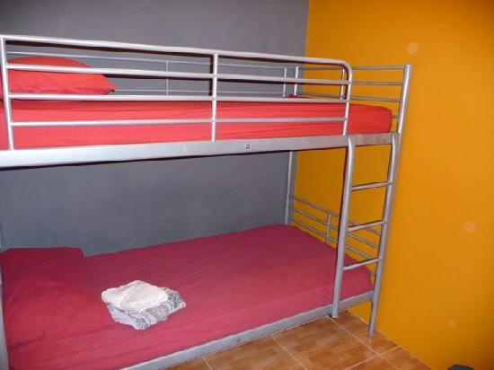 The InnCrowd Hostel: Twin room, main building, bunk beds. The room is the width of the bunk and there's about 1.5m in