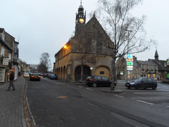 Redesdale Arms Hotel: church in square