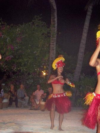 Conrad Bora Bora Nui: One of the dancers at their Tahitian dance and buffet