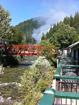Downieville, CA: Looking up the Downie River from the rooms balcony.