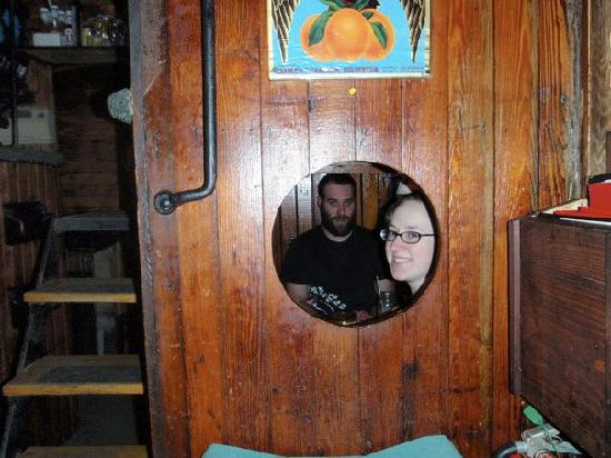Casey's Caboose Steak House: Sitting in the caboose!