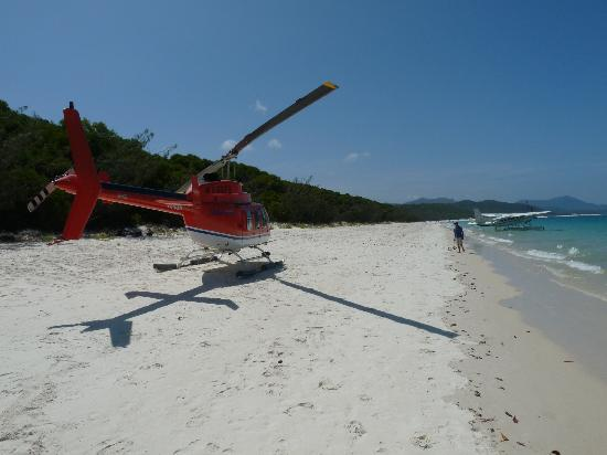 Praia Whitehaven: Seaplane and helicopter on the beach