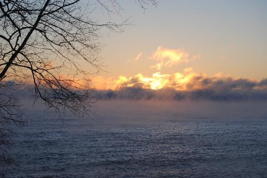 Chateau LeVeaux on Lake Superior: Sunrise out our sliding door.