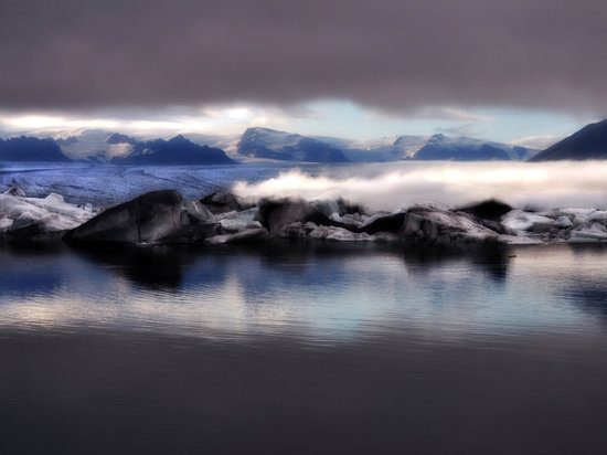 Jokulsarlon, Исландия: The Lagoon after the fog and clouds cleared