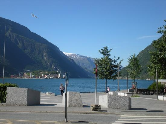 Hardanger Fjord in Odda across the street from the Hardanger Hotel