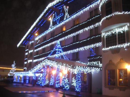 Bavarian Lodge Front Of All Lit Up For Christmas