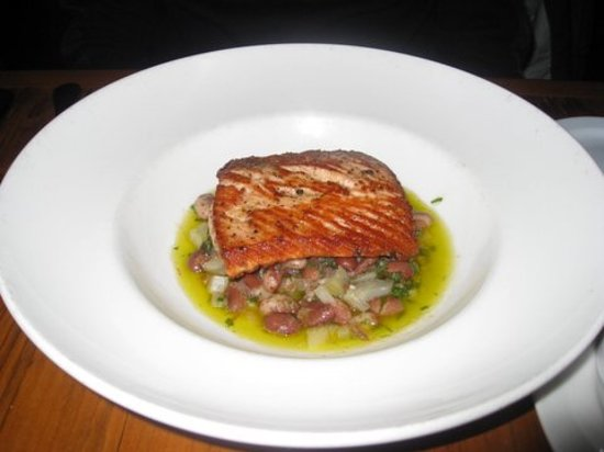 Hen of The Wood: Salmon on bean ragu