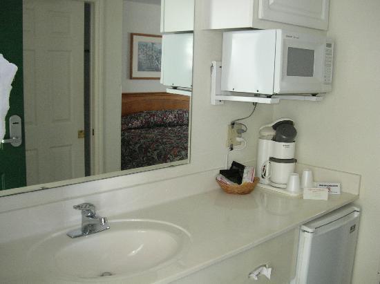 Anastasia Inn: room interior with microwave and fridge