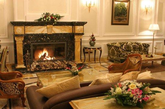 Hotel Savoy Moscow: Lobby fireplace