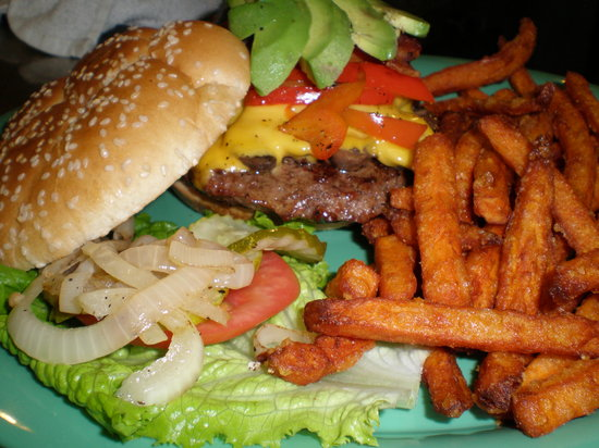 American Burger: ALL- Burger (mushrooms, peppers, avocado, bacon and cheese.