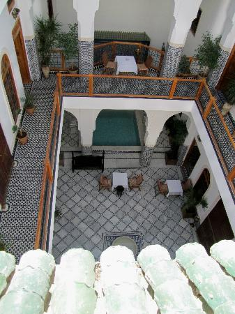 Riad Layali Fes: view of courtyard from above