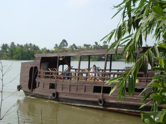 Mekong Delta, Vietnam: Private boat ashore on the river bank